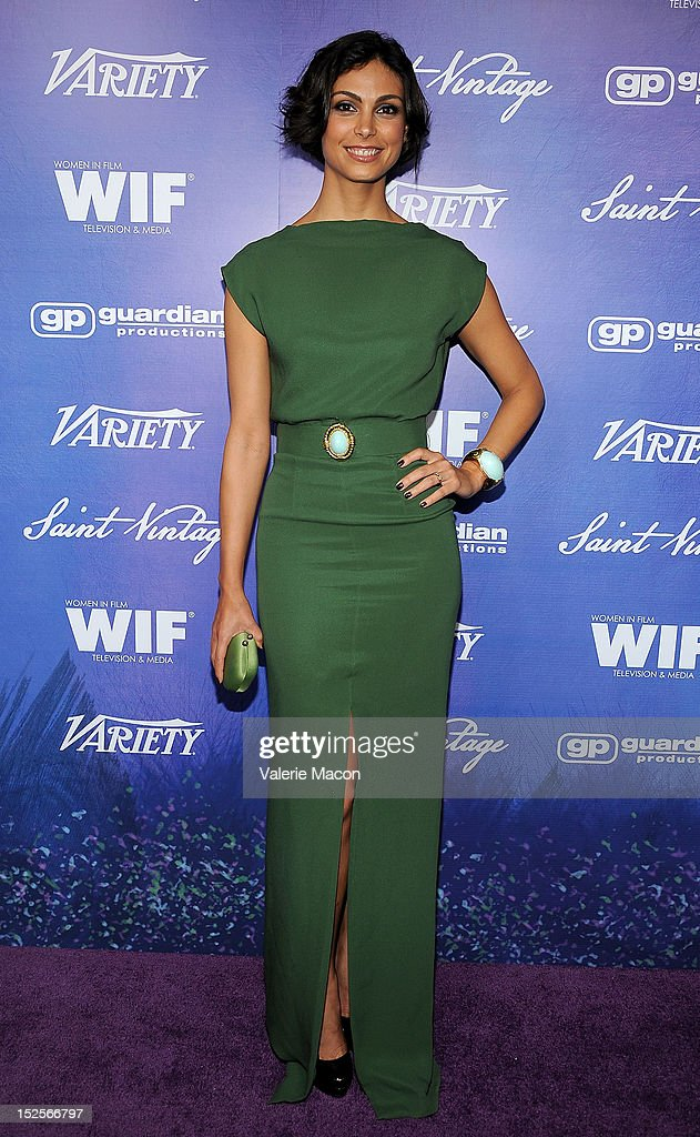 Actress Morena Baccarin arrives at the Variety And Women In Film Pre-Emmy Event at Scarpetta on September 21, 2012 in Beverly Hills, California.
