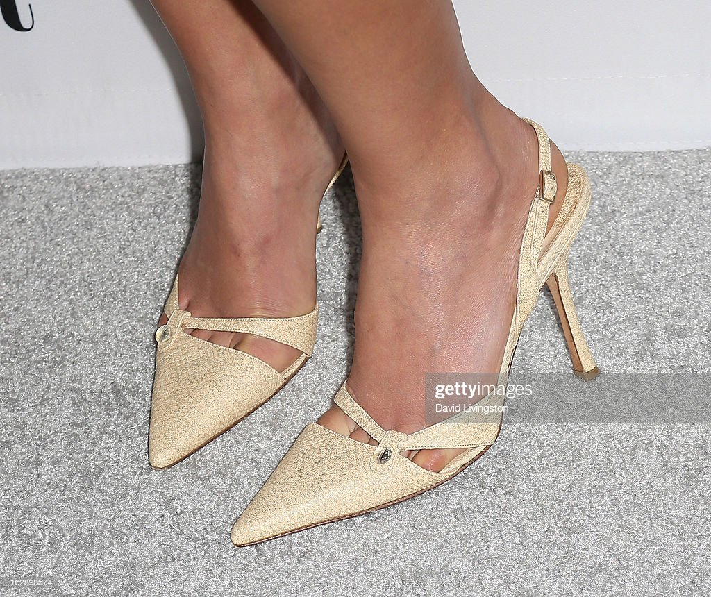 Actress Morena Baccarin (shoe detail) attends the Harper's BAZAAR celebration of Cameron Silver and Christos Garkinos of Decades new Bravo series 'Dukes of Melrose' at The Terrace at Sunset Tower on February 28, 2013 in West Hollywood, California.