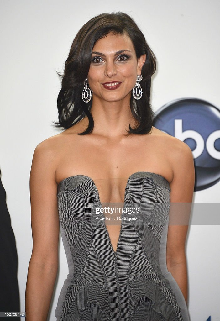 Actress Morena Baccarin poses in the 64th Annual Emmy Awards press room at Nokia Theatre L.A. Live on September 23, 2012 in Los Angeles, California.