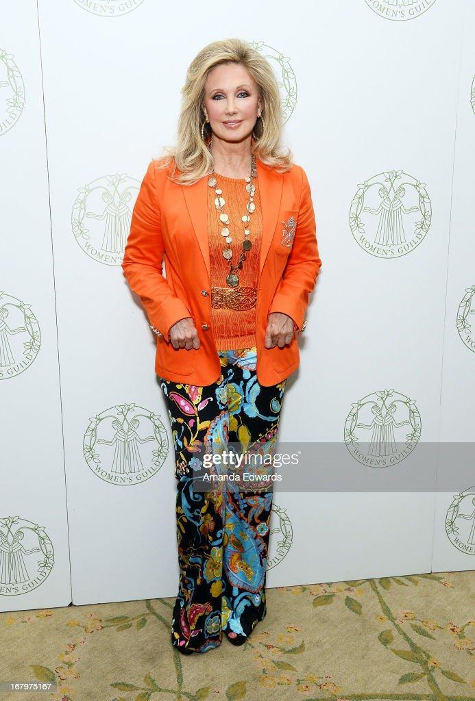 Actress Morgan Fairchild arrives at the Women's Guild Cedars-Sinai Spring Luncheon honoring Victoria Reggie Kennedy at The Beverly Hills Hotel on May 3, 2013 in Beverly Hills, California.