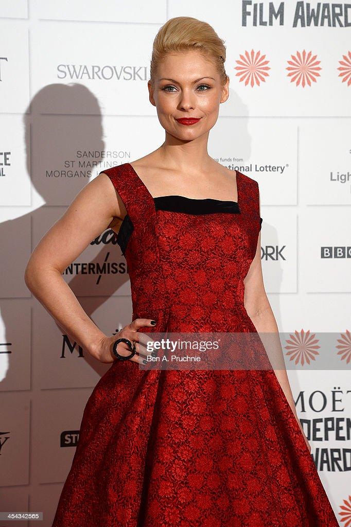 Actress MyAnna Buring arrives on the red carpet for the Moet British Independent Film Awards at Old Billingsgate Market on December 8, 2013 in London, England.