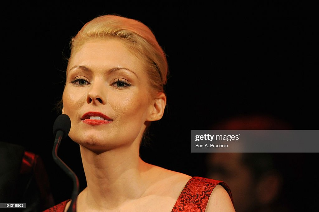 Actress MyAnna Buring presents an award during the ceremony for the Moet British Independent Film Awards at Old Billingsgate Market on December 8, 2013 in London, England.