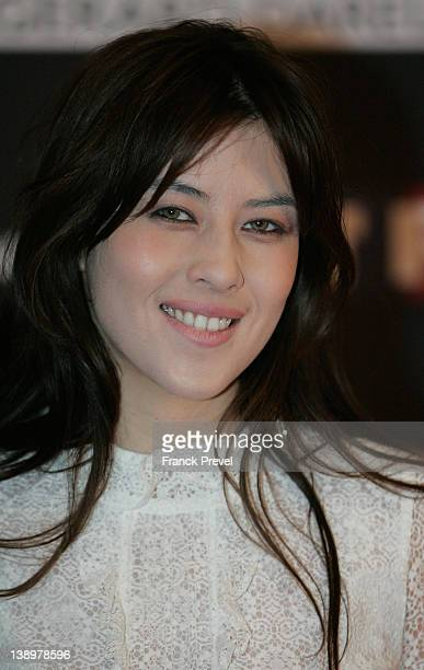 Actress Mylene Jampanoi attends the 'Trophees Du Film Francais 2012' photocall at Palais Brongniart on February 14 2012 in Paris France