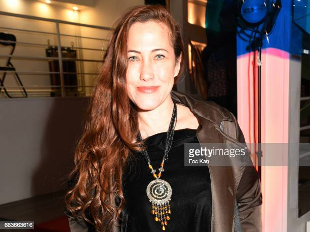 Actress Myriam Charleins attends Georges Bedran Fashion Show at Espace Batignolles on April 1 2017 in Paris France
