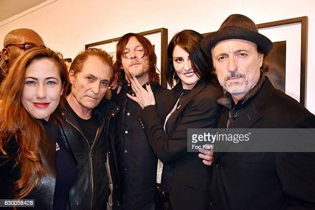 Actress Myriam Charleins Franck Ros Norman Reedus Sylvie Ortega Munoz and Gil Ros attend 'Norman Reedus' Photo Exhibition around his book 'The Sun's...