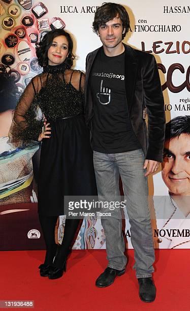 Actress Nabiha Akkari and Actor Luca Argentero attends 'Lezioni Di Cioccolato 2' Milan photocall held at Cinema Colosseo on November 8 2011 in Milan...