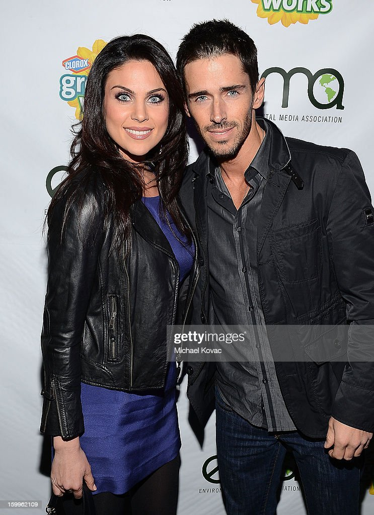 Actress Nadia Bjorlin (L) and actor Brandon Beemer attend Celebrities and the EMA Help Green Works Launch New Campaign at Sur Restaurant on January 23, 2013 in Los Angeles, California.