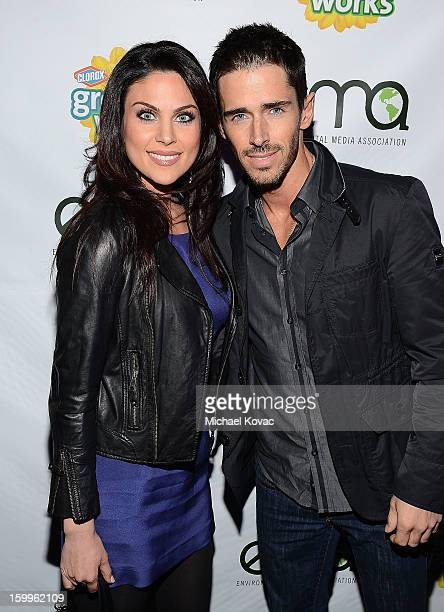 Actress Nadia Bjorlin and actor Brandon Beemer attend Celebrities and the EMA Help Green Works Launch New Campaign at Sur Restaurant on January 23...