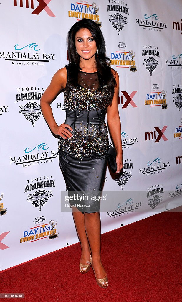 Actress <a gi-track='captionPersonalityLinkClicked' href=/galleries/search?phrase=Nadia+Bjorlin&family=editorial&specificpeople=2159820 ng-click='$event.stopPropagation()'>Nadia Bjorlin</a> arrives at the official pre-party for the 2010 Daytime Entertainment Emmy Awards at Mix at THEhotel at Mandalay Bay on June 26, 2010 in Las Vegas, Nevada.