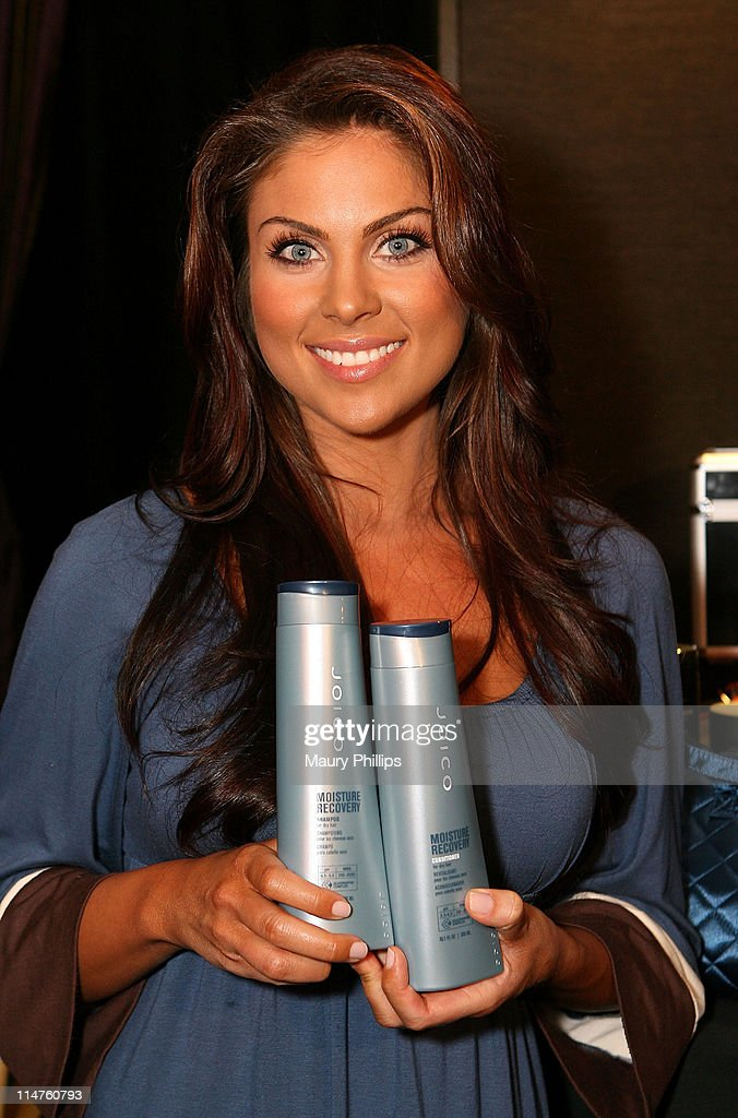 Actress <a gi-track='captionPersonalityLinkClicked' href=/galleries/search?phrase=Nadia+Bjorlin&family=editorial&specificpeople=2159820 ng-click='$event.stopPropagation()'>Nadia Bjorlin</a> poses in the Daytime Emmy official gift lounge produced by On 3 Productions held at the Kodak Theatre on June 19, 2008 in Hollywood, California.