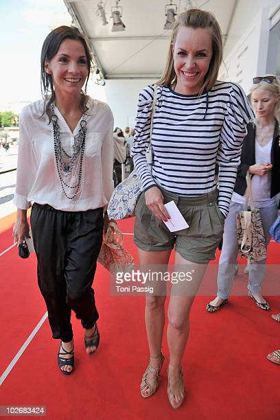 Actress Nadine Warmuth and Simone Hanselmann arrive at the Kaviar Gauche Show during the Mercedes Benz Fashion Week Spring/Summer 2011 at Bebelplatz...