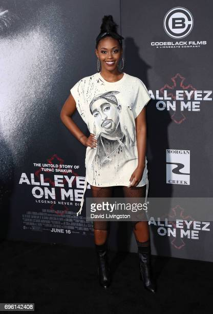 Actress Nafessa Williams attends the premiere of Lionsgate's 'All Eyez On Me' on June 14 2017 in Los Angeles California
