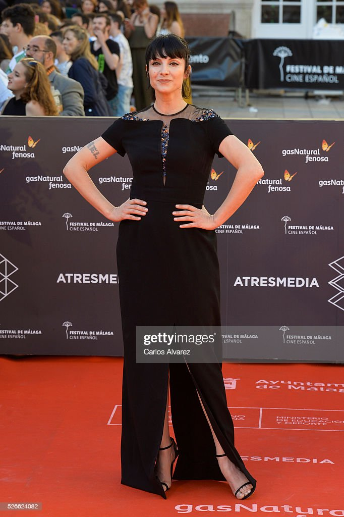 Actress <a gi-track='captionPersonalityLinkClicked' href=/galleries/search?phrase=Najwa+Nimri&family=editorial&specificpeople=578073 ng-click='$event.stopPropagation()'>Najwa Nimri</a> attends 'Nuestros Amantes' premiere at the Cervantes Teather during the 19th Malaga Film Festival on April 30, 2016 in Malaga, Spain.