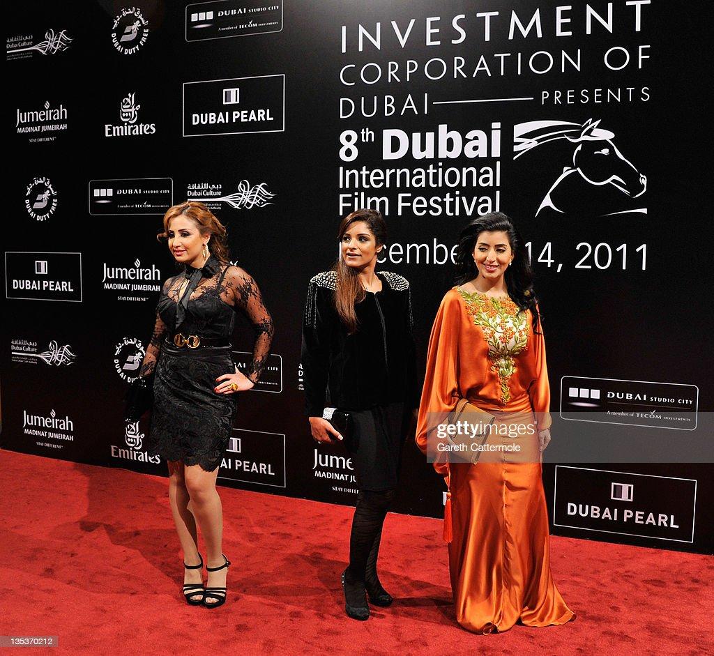 Actress Najwa, singer Maram and actress Bothayna al Raesi attend the 'Terraferma' premiere during day three of the 8th Annual Dubai International Film Festival held at the Madinat Jumeriah Complex on December 9, 2011 in Dubai, United Arab Emirates.
