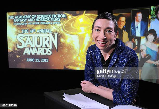 Actress Naomi Grossman of 'American Horror Story Freakshow' reads the 2015 Saturn Award Nominations for the 31st Annual show to be held June 25th...
