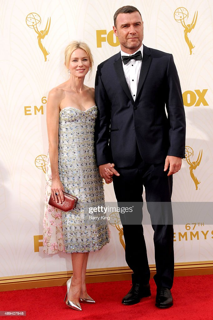 Actress Naomi Watts and actor Liev Schreiber arrive at the 67th Annual Primetime Emmy Awards at the Microsoft Theater on September 20, 2015 in Los Angeles, California.