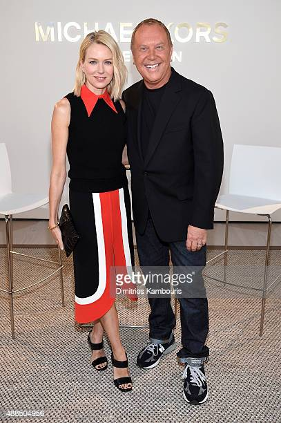 Actress Naomi Watts and designer Michael Kors pose backstage at the Michael Kors Spring 2016 Runway Show during New York Fashion Week The Shows at...