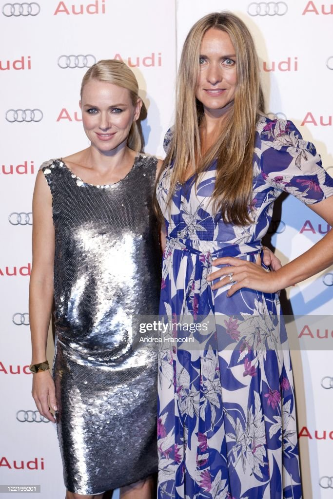 Actress Naomi Watts and fashion designer Collette Dinnigan pose for photographers at Qualia Resort on August 26 2011 in Hamilton Island Australia