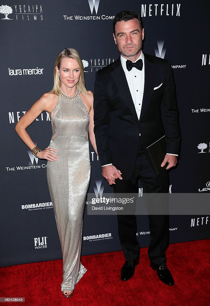 Actress <a gi-track='captionPersonalityLinkClicked' href=/galleries/search?phrase=Naomi+Watts&family=editorial&specificpeople=171723 ng-click='$event.stopPropagation()'>Naomi Watts</a> (L) and husband actor <a gi-track='captionPersonalityLinkClicked' href=/galleries/search?phrase=Liev+Schreiber&family=editorial&specificpeople=203259 ng-click='$event.stopPropagation()'>Liev Schreiber</a> attend The Weinstein Company's 2014 Golden Globe Awards After Party at The Beverly Hilton hotel on January 12, 2014 in Beverly Hills, California.