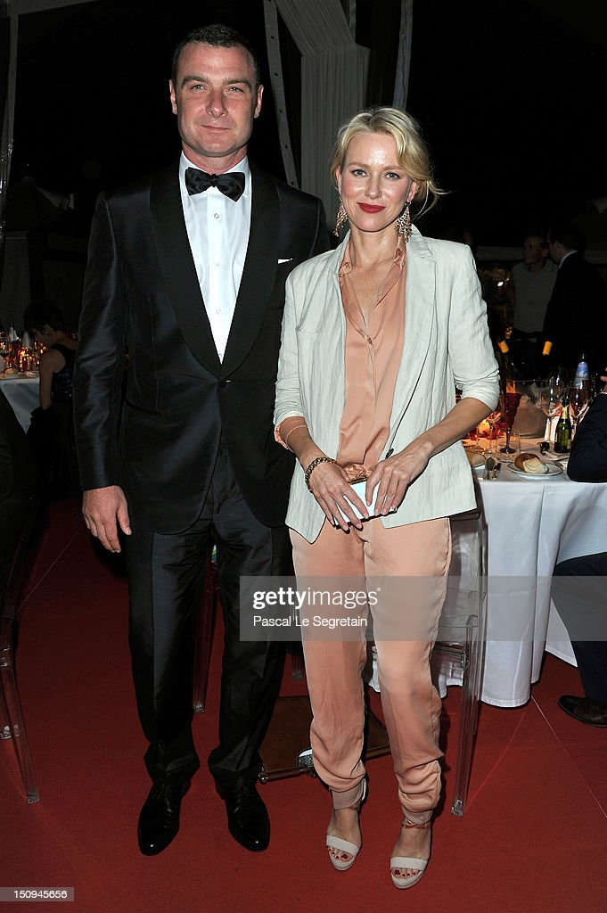 Actress <a gi-track='captionPersonalityLinkClicked' href=/galleries/search?phrase=Naomi+Watts&family=editorial&specificpeople=171723 ng-click='$event.stopPropagation()'>Naomi Watts</a> and <a gi-track='captionPersonalityLinkClicked' href=/galleries/search?phrase=Liev+Schreiber&family=editorial&specificpeople=203259 ng-click='$event.stopPropagation()'>Liev Schreiber</a> (L) attend the Opening Ceremony Dinner during the 69th Venice International Film Festival at Palazzo del Cinema on August 29, 2012 in Venice, Italy.