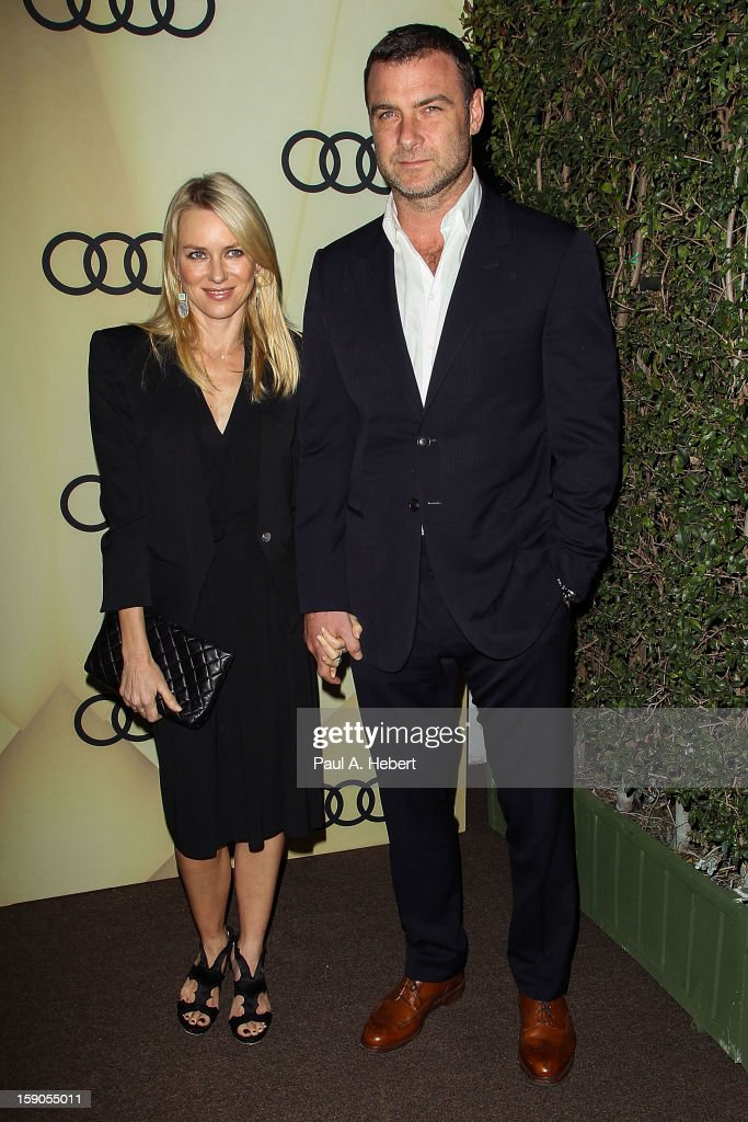 Actress Naomi Watts and partner Liev Schreiber arrives at the Audi Golden Globe 2013 Kick Off Party at Cecconi's Restaurant on January 6, 2013 in Los Angeles, California.