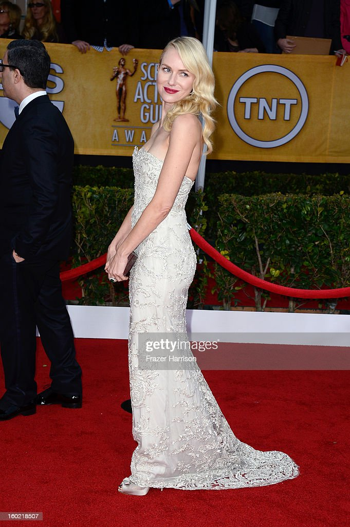 Actress Naomi Watts arrives at the 19th Annual Screen Actors Guild Awards held at The Shrine Auditorium on January 27, 2013 in Los Angeles, California.