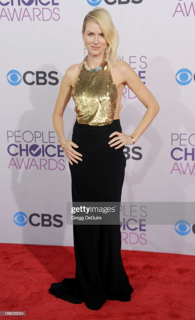 Actress <a gi-track='captionPersonalityLinkClicked' href=/galleries/search?phrase=Naomi+Watts&family=editorial&specificpeople=171723 ng-click='$event.stopPropagation()'>Naomi Watts</a> arrives at the 2013 People's Choice Awards at Nokia Theatre L.A. Live on January 9, 2013 in Los Angeles, California.