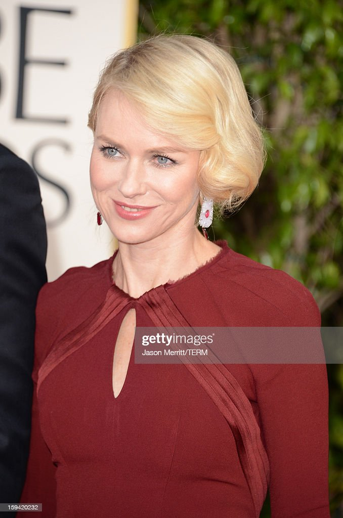 Actress Naomi Watts arrives at the 70th Annual Golden Globe Awards held at The Beverly Hilton Hotel on January 13, 2013 in Beverly Hills, California.