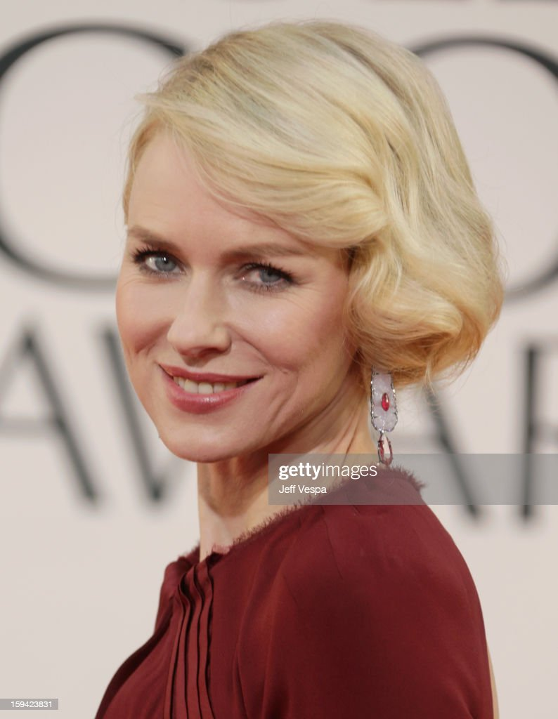 Actress <a gi-track='captionPersonalityLinkClicked' href=/galleries/search?phrase=Naomi+Watts&family=editorial&specificpeople=171723 ng-click='$event.stopPropagation()'>Naomi Watts</a> arrives at the 70th Annual Golden Globe Awards held at The Beverly Hilton Hotel on January 13, 2013 in Beverly Hills, California.