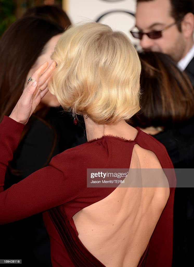 Actress Naomi Watts (fashion detail) arrives at the 70th Annual Golden Globe Awards held at The Beverly Hilton Hotel on January 13, 2013 in Beverly Hills, California.