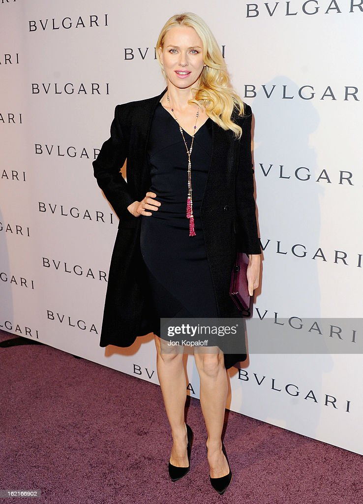 Actress <a gi-track='captionPersonalityLinkClicked' href=/galleries/search?phrase=Naomi+Watts&family=editorial&specificpeople=171723 ng-click='$event.stopPropagation()'>Naomi Watts</a> arrives at the Elizabeth Taylor Bulgari Event At The New Bulgari Beverly Hills Boutique on February 19, 2013 in Beverly Hills, California.