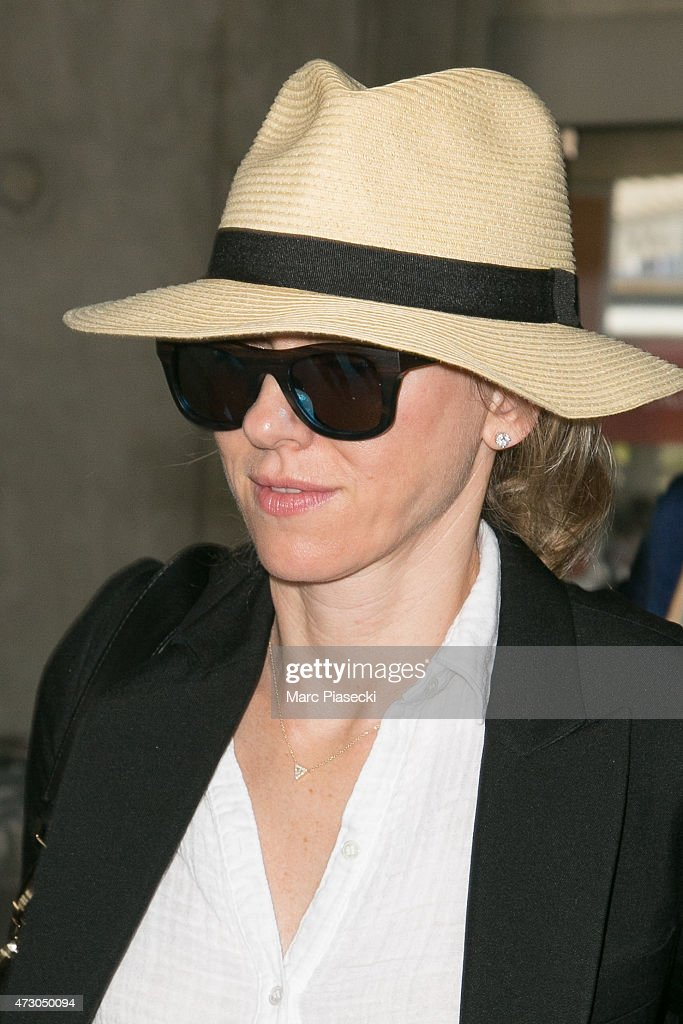 Actress Naomi Watts arrives at the Nice airport ahead the 68th annual Cannes Film Festival on May 12 2015 in Cannes France