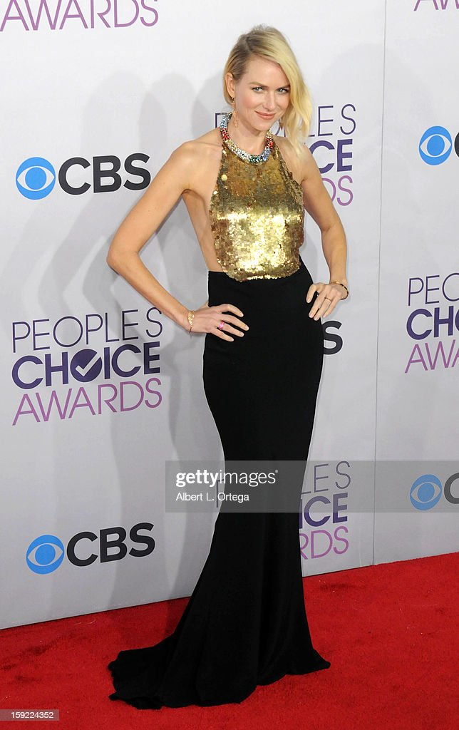 Actress <a gi-track='captionPersonalityLinkClicked' href=/galleries/search?phrase=Naomi+Watts&family=editorial&specificpeople=171723 ng-click='$event.stopPropagation()'>Naomi Watts</a> arrives for the 34th Annual People's Choice Awards - Arrivals held at Nokia Theater at L.A. Live on January 9, 2013 in Los Angeles, California.
