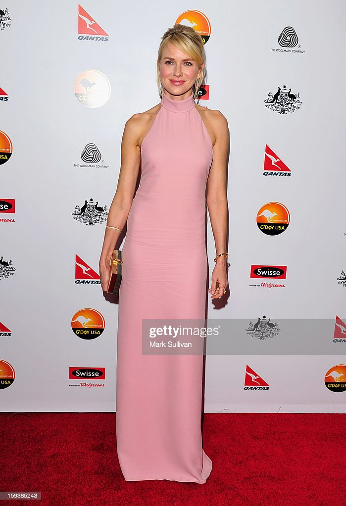 Actress <a gi-track='captionPersonalityLinkClicked' href=/galleries/search?phrase=Naomi+Watts&family=editorial&specificpeople=171723 ng-click='$event.stopPropagation()'>Naomi Watts</a> arrives for the G'Day USA Black Tie Gala held at at the JW Marriot at LA Live on January 12, 2013 in Los Angeles, California.