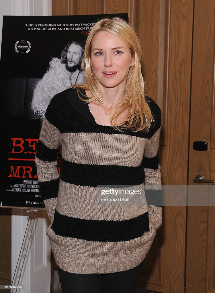 Actress <a gi-track='captionPersonalityLinkClicked' href=/galleries/search?phrase=Naomi+Watts&family=editorial&specificpeople=171723 ng-click='$event.stopPropagation()'>Naomi Watts</a> attends 'Beware Of Mr. Baker' New York Screening at Crosby Street Hotel on November 27, 2012 in New York City.