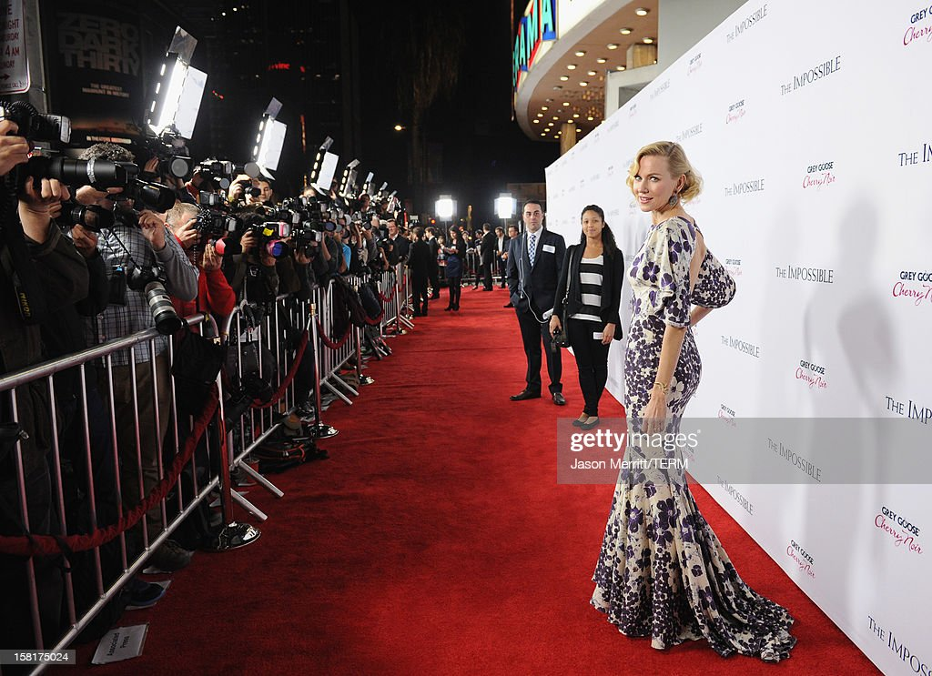 Actress <a gi-track='captionPersonalityLinkClicked' href=/galleries/search?phrase=Naomi+Watts&family=editorial&specificpeople=171723 ng-click='$event.stopPropagation()'>Naomi Watts</a> attends the Los Angeles premiere of Summit Entertainment's 'The Impossible' at ArcLight Cinemas Cinerama Dome on December 10, 2012 in Hollywood, California.