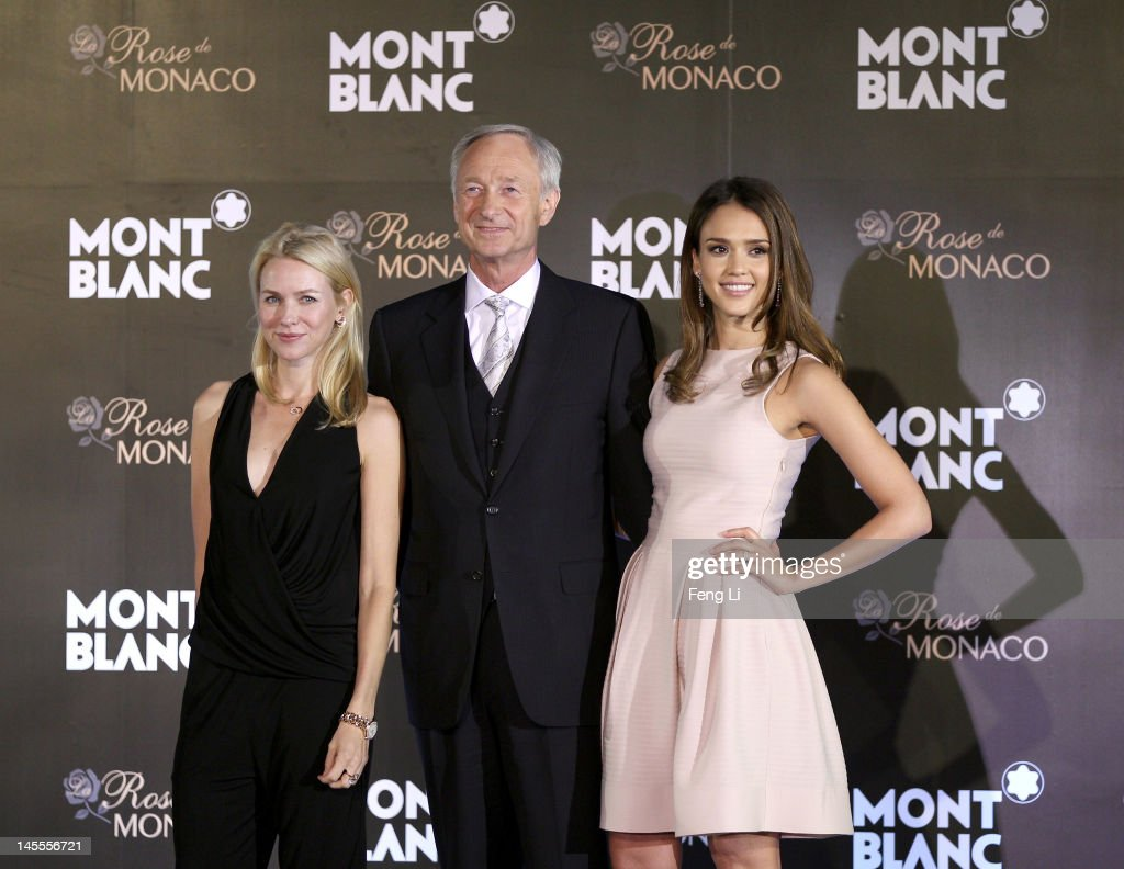 Actress <a gi-track='captionPersonalityLinkClicked' href=/galleries/search?phrase=Naomi+Watts&family=editorial&specificpeople=171723 ng-click='$event.stopPropagation()'>Naomi Watts</a>, CEO Montblanc International <a gi-track='captionPersonalityLinkClicked' href=/galleries/search?phrase=Lutz+Bethge&family=editorial&specificpeople=702473 ng-click='$event.stopPropagation()'>Lutz Bethge</a> and actress <a gi-track='captionPersonalityLinkClicked' href=/galleries/search?phrase=Jessica+Alba&family=editorial&specificpeople=201811 ng-click='$event.stopPropagation()'>Jessica Alba</a> pose onstage during interviews for the official opening of the Montblanc Sanlitun Concept Store held at the JW Marriott Hotel Beijing on June 1, 2012 in Beijing, China.
