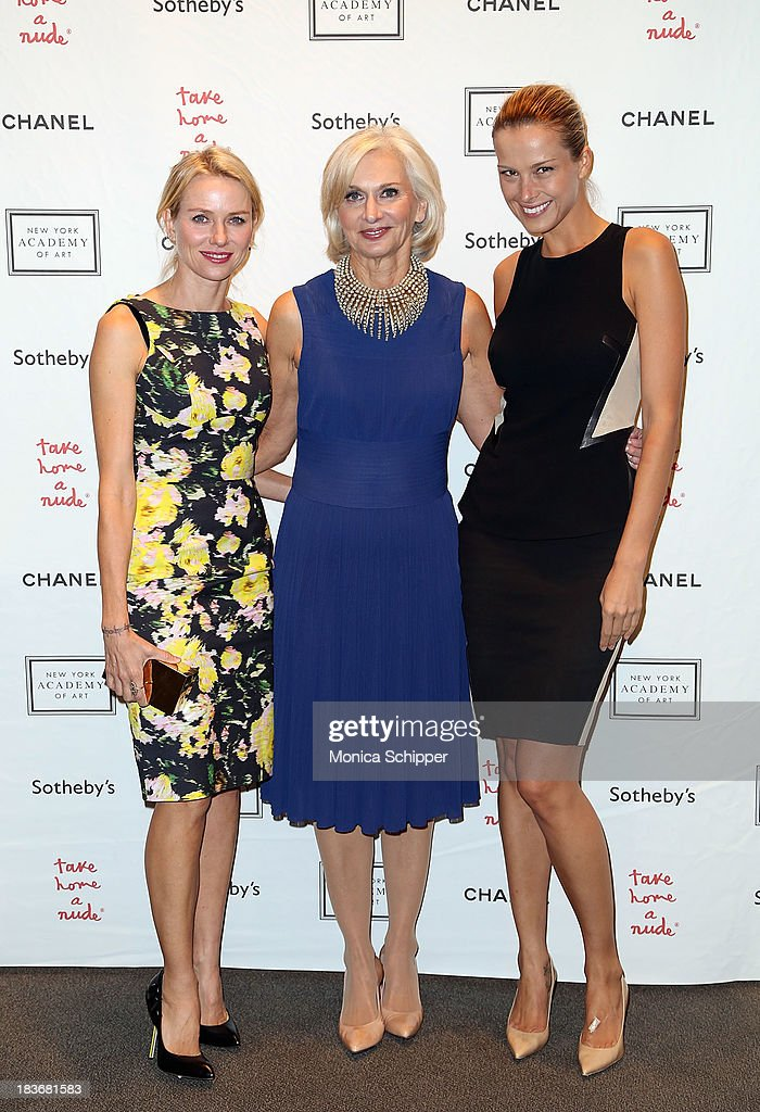 Actress <a gi-track='captionPersonalityLinkClicked' href=/galleries/search?phrase=Naomi+Watts&family=editorial&specificpeople=171723 ng-click='$event.stopPropagation()'>Naomi Watts</a>, Eileen Guggenheim and <a gi-track='captionPersonalityLinkClicked' href=/galleries/search?phrase=Petra+Nemcova&family=editorial&specificpeople=201716 ng-click='$event.stopPropagation()'>Petra Nemcova</a> attend 2013 'Take Home A Nude' Benefit Art Auction And Party at Sotheby's on October 8, 2013 in New York City.