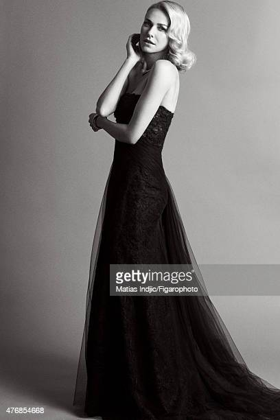 Actress Naomi Watts is photographed for Madame Figaro on May 18 2015 at the Cannes Film Festival in Cannes France Dress Jardins Italiens necklace and...