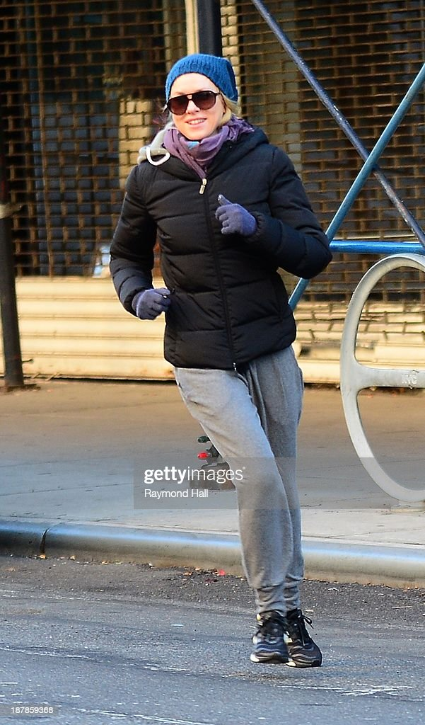Actress <a gi-track='captionPersonalityLinkClicked' href=/galleries/search?phrase=Naomi+Watts&family=editorial&specificpeople=171723 ng-click='$event.stopPropagation()'>Naomi Watts</a> is seen runing in Soho on November 13, 2013 in New York City.