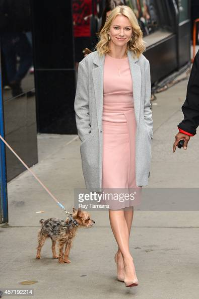 Actress Naomi Watts leaves the 'Good Morning America' taping at the ABC Times Square Studios on October 13 2014 in New York City
