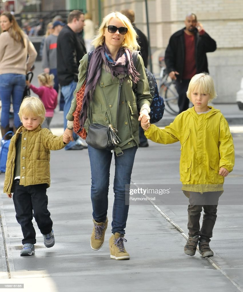 Actress Naomi Watts (C),Samuel Schreber,Sasha Schreiber are seen in Soho on May 15, 2013 in New York City.