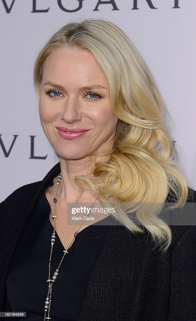 Actress <a gi-track='captionPersonalityLinkClicked' href=/galleries/search?phrase=Naomi+Watts&family=editorial&specificpeople=171723 ng-click='$event.stopPropagation()'>Naomi Watts</a>, wearing BVLGARI, arrives at the BVLGARI celebration of Elizabeth Taylor's collection of BVLGARI jewelry at BVLGARI Beverly Hills on February 19, 2013 in Los Angeles, California.