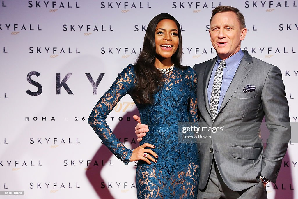 Actress <a gi-track='captionPersonalityLinkClicked' href=/galleries/search?phrase=Naomie+Harris&family=editorial&specificpeople=238918 ng-click='$event.stopPropagation()'>Naomie Harris</a> and Daniel Craig attend 'Skyfall' Rome premiere at The Space Moderno on October 26, 2012 in Rome, Italy.