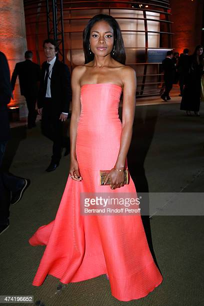 Actress Naomie Harris enjoys a Martell cocktail at the Martell 300th anniversary event held at the Palace of Versailles on May 20 2015 in Versailles...