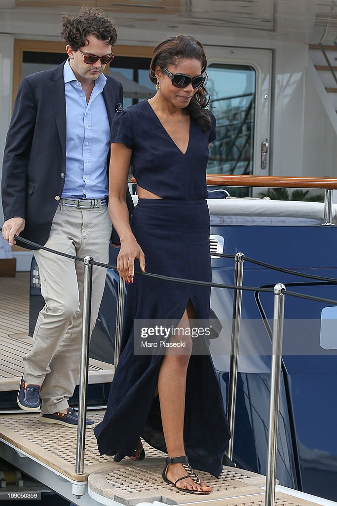 Actress Naomie Harris is seen leaving the 'Odessa' yacht in the Cannes harbour during the 66th Annual Cannes Film Festival on May 19, 2013 in Cannes, France.