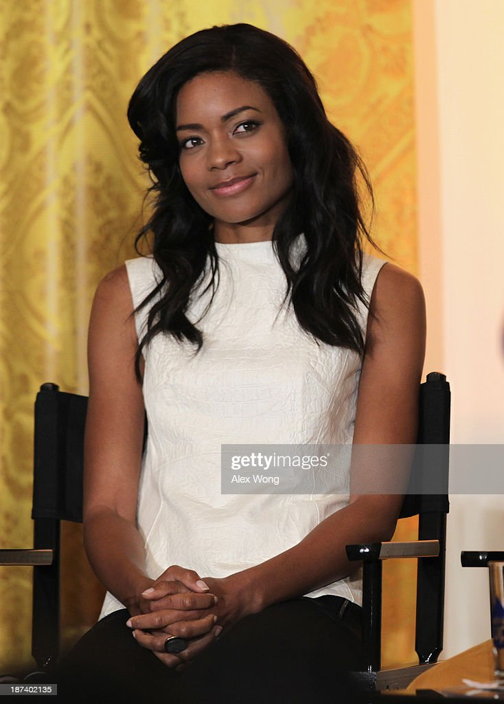 Actress <a gi-track='captionPersonalityLinkClicked' href=/galleries/search?phrase=Naomie+Harris&family=editorial&specificpeople=238918 ng-click='$event.stopPropagation()'>Naomie Harris</a> listens during a workshop for high school students from DC, New York and Boston about careers in film production November 8, 2013 at the East Room of the White House in Washington, DC. Students had an opportunity to hear from leaders in the industry about animation, special effects, makeup, costume, directing, music and sound effects.