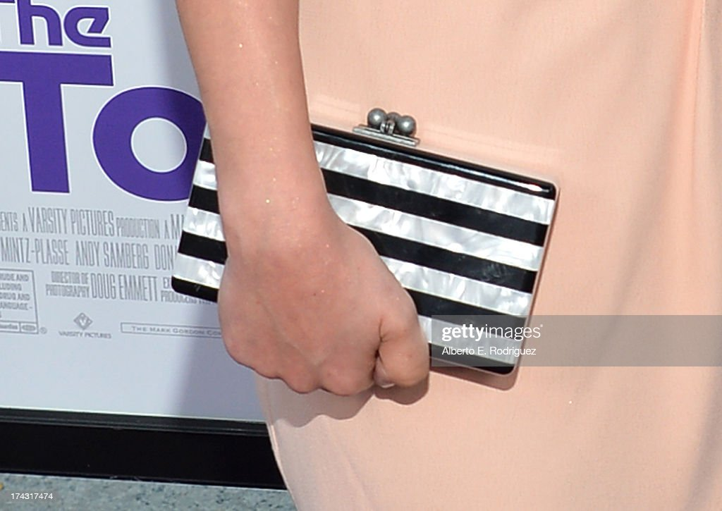 Actress Nasim Pedrad (clutch detail) attends the premiere of CBS Films' 'The To Do List' on July 23, 2013 in Westwood, California.