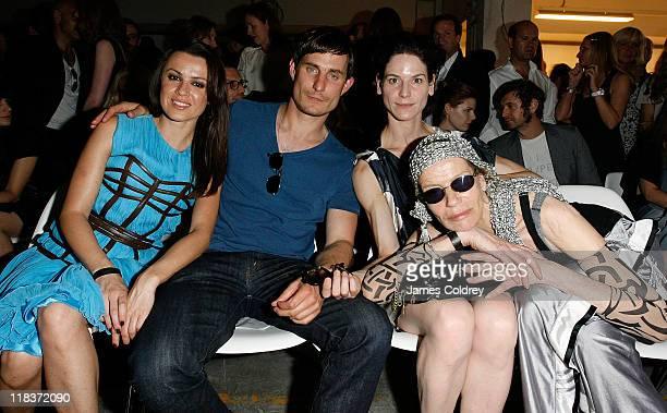 Actress Natalia Avelon actor Clemens Schick actress Bibiana Beglau and actress Veruschka von Lehndorff attend the Kostas Murkudis Show at the Nolan...