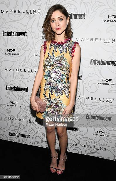 Actress Natalia Dyer attends the Entertainment Weekly Celebration of SAG Award Nominees sponsored by Maybelline New York at Chateau Marmont on...
